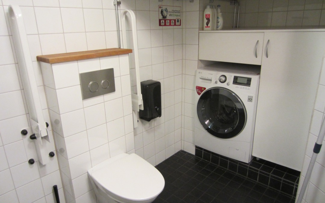The common bathroom and washing machine